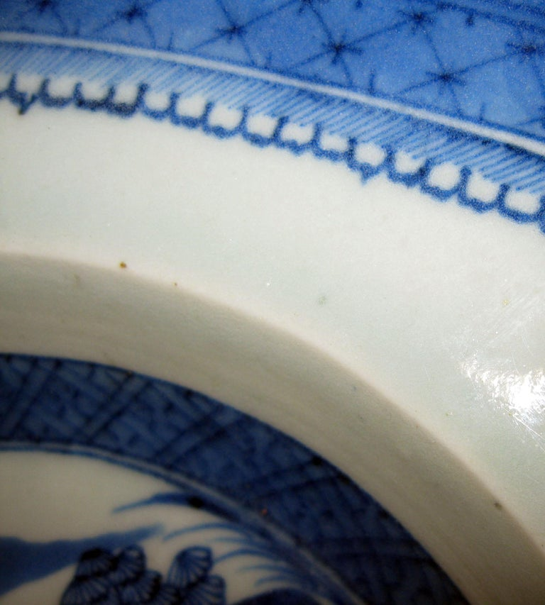 Porcelain 19th Century Chinese Export Blue and White Canton Ware Deep Platter For Sale