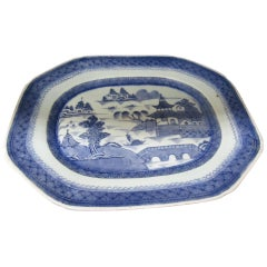 19th Century Chinese Export Blue and White Canton Ware Platter
