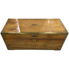19th Century Chinese Export Campaign Style Camphor Wood Trunk with Drawer & Tray
