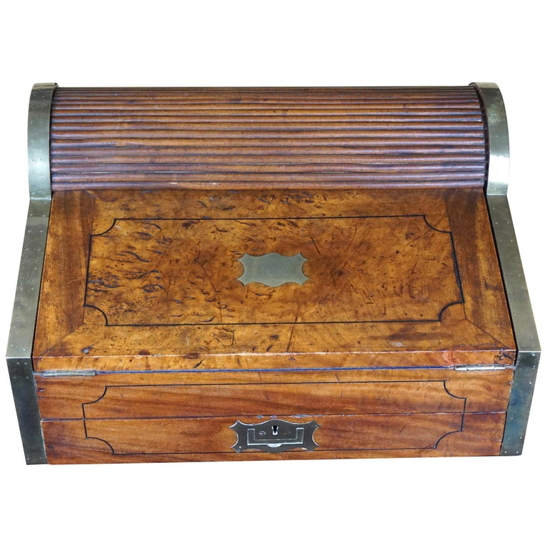 19th Century Chinese Export Camphorwood Brass Inlaid Portable Desk For Sale