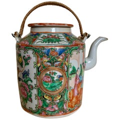19th Century Chinese Export Canton Famille Rose Medallion Teapot