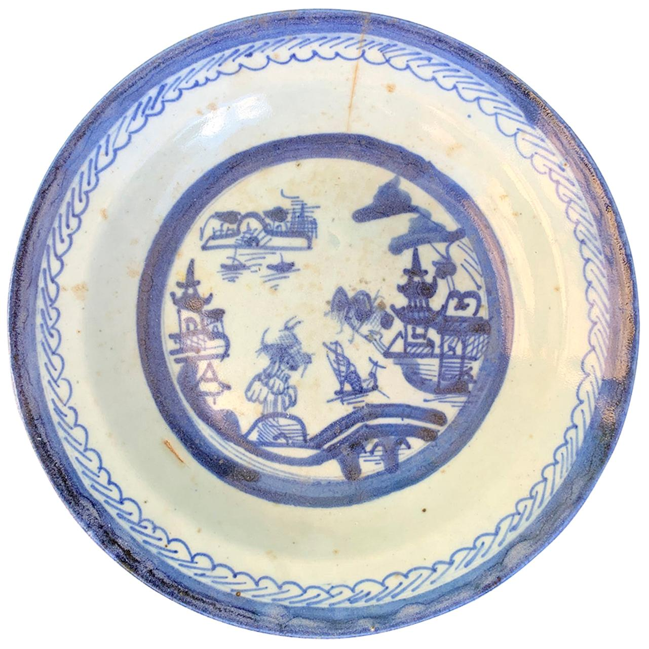 19th Century Chinese Export Canton Ware Blue & White Porcelain Plate, Unmarked