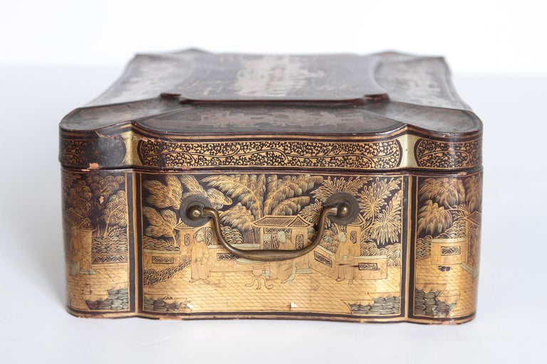 Wood 19th Century Chinese Export Chinoiserie Lacquer Sewing Box For Sale