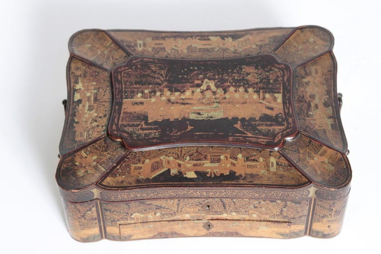19th Century Chinese Export Chinoiserie Lacquer Sewing Box For Sale 2
