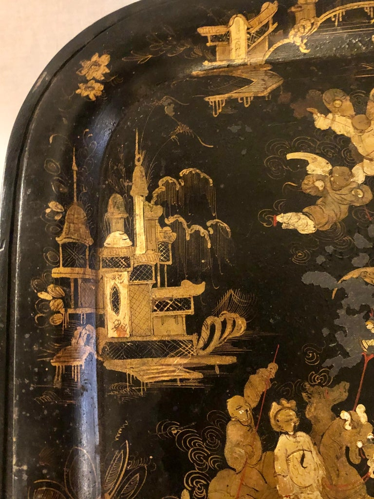 19th Century Chinese Export Chinoiserie Tray on Stand For Sale 6