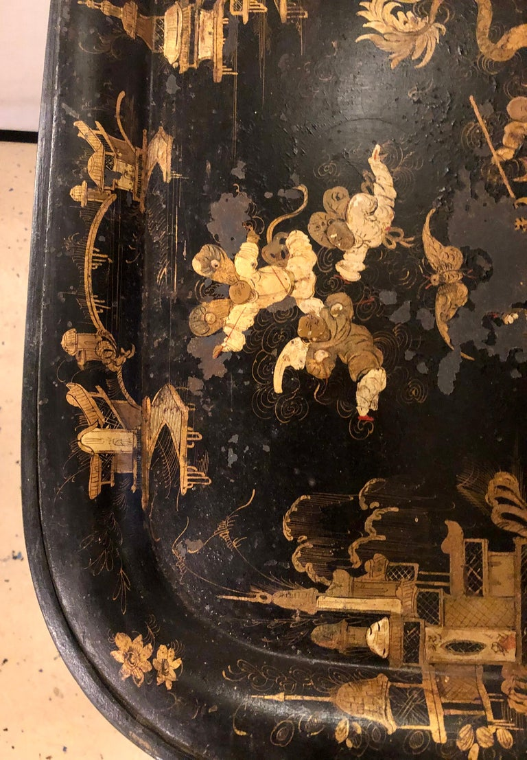 19th Century Chinese Export Chinoiserie Tray on Stand For Sale 7