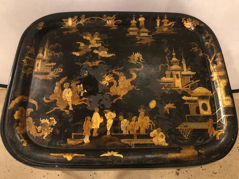 19th Century Chinese Export Chinoiserie Tray on Stand For Sale 8