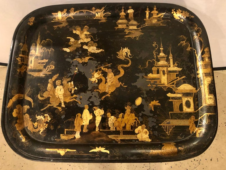 19th Century Chinese Export Chinoiserie Tray on Stand In Fair Condition For Sale In Stamford, CT