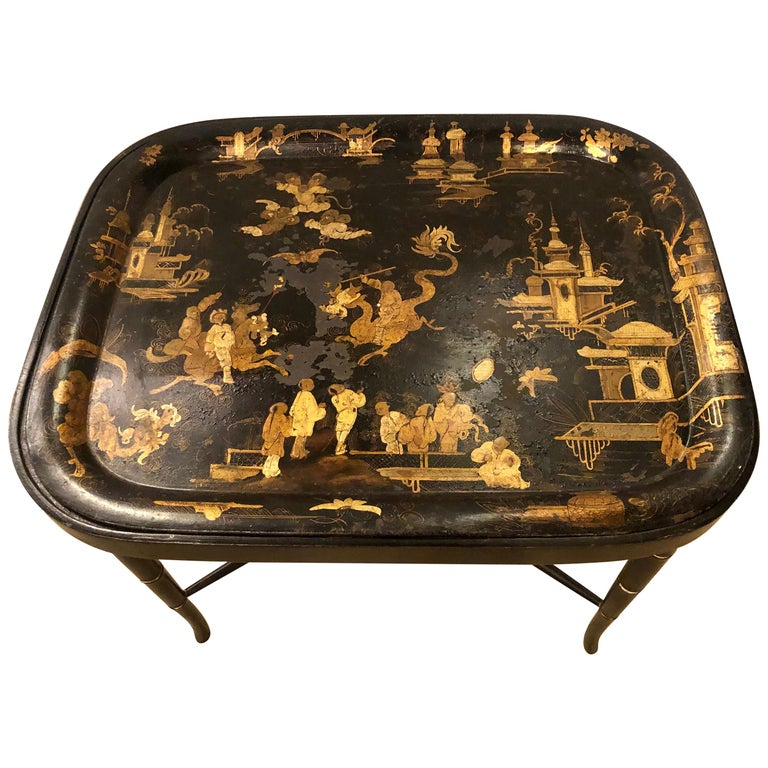 19th Century Chinese Export Chinoiserie Tray on Stand For Sale