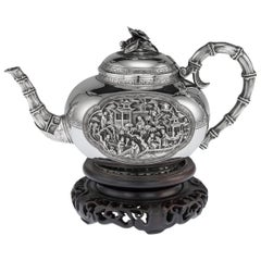 19th Century Chinese Export Exceptional Solid Silver Teapot, circa 1870