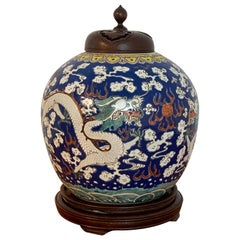 20th Century Chinese Export Polychrome Enamel Ginger Jar