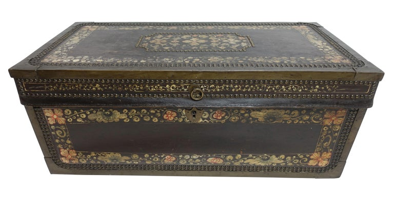 19th Century Chinese Export Hand-Painted Leather Trunk In Excellent Condition For Sale In San Francisco, CA
