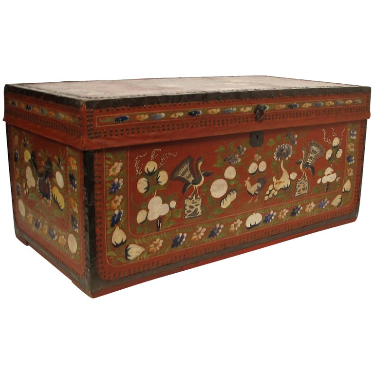 19th Century Chinese Export Hand-Painted Red Leather Trunk For Sale