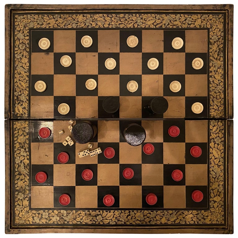 19th Century Chinese Export Lacquer Chess and Backgammon Board For Sale
