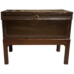 19th Century Chinese Export Leather and Brass Coffer