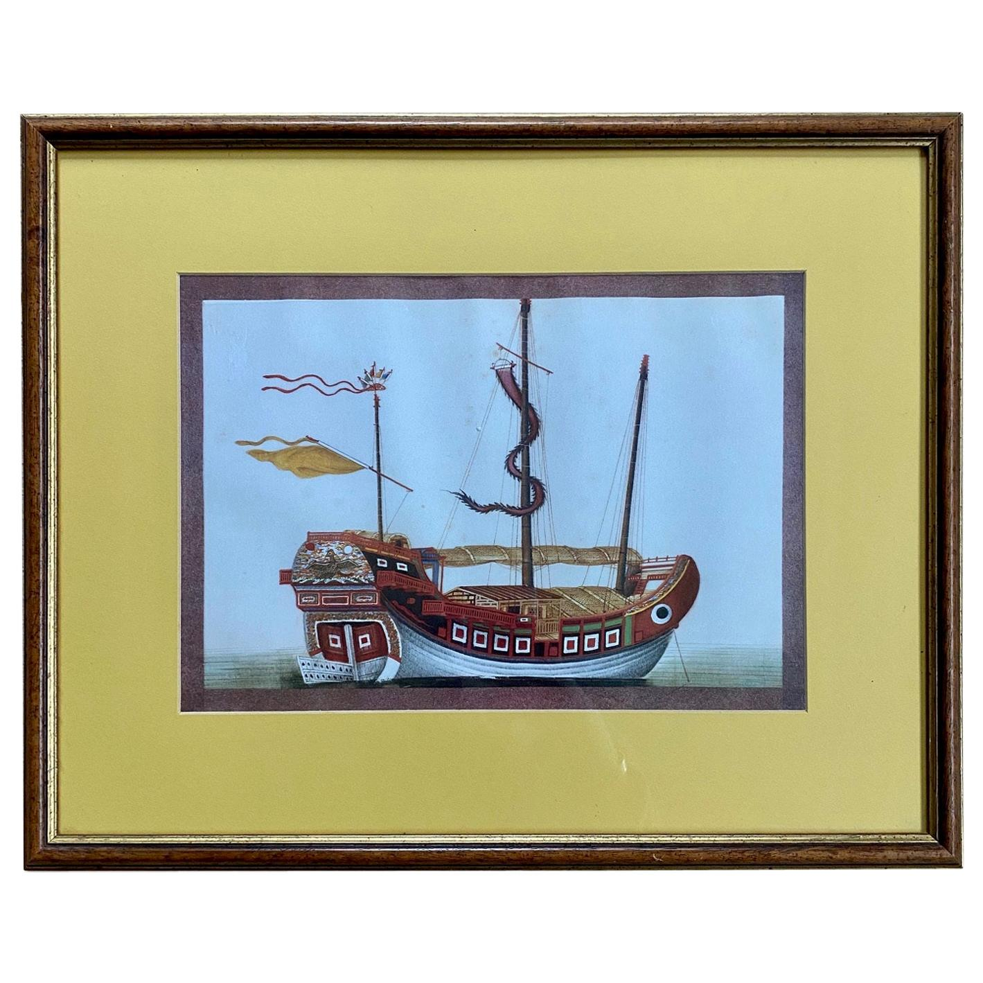 19th Century Chinese Export Pith Painting of a Junk