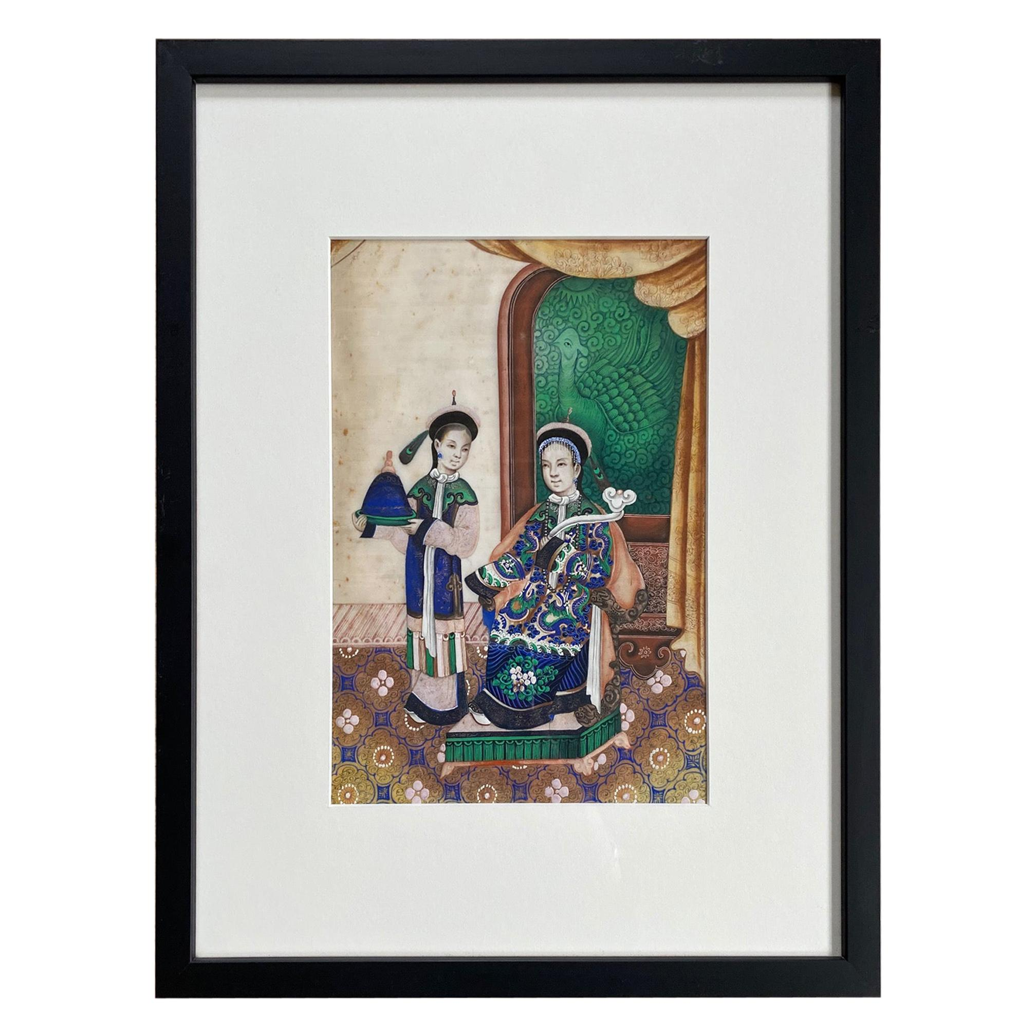 19th Century Chinese Export Pith Painting of Figures in an Interior