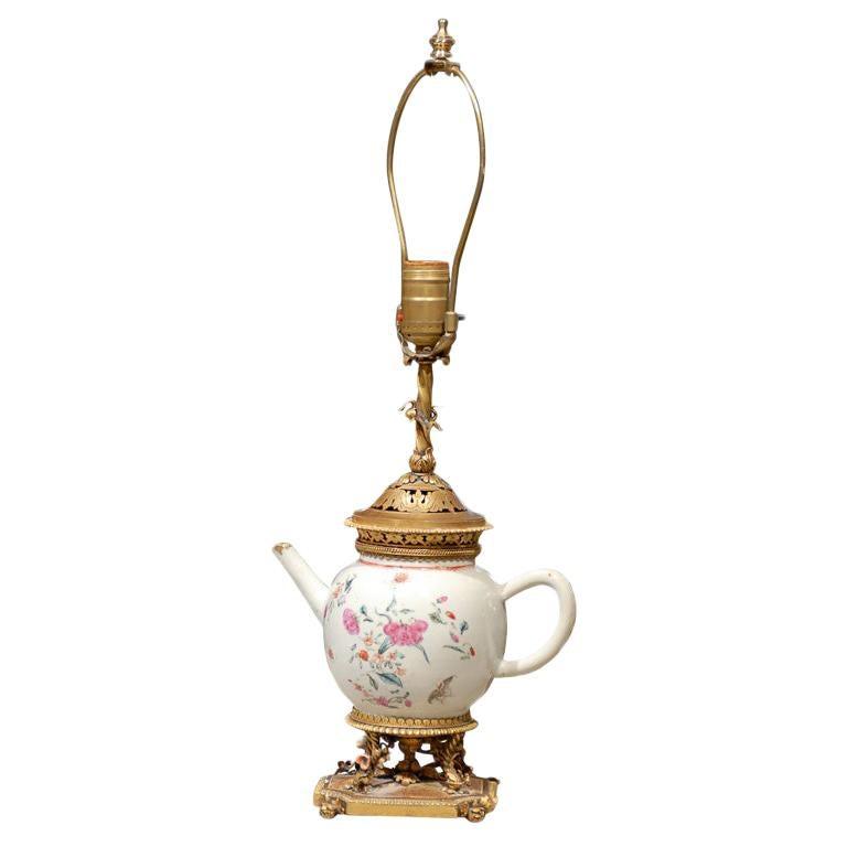 19th Century Chinese Export Porcelain Tea Pot as Lamp