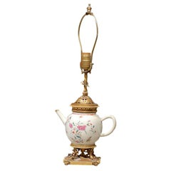 19th Century Chinese Export Porcelain Tea Pot as Lamp