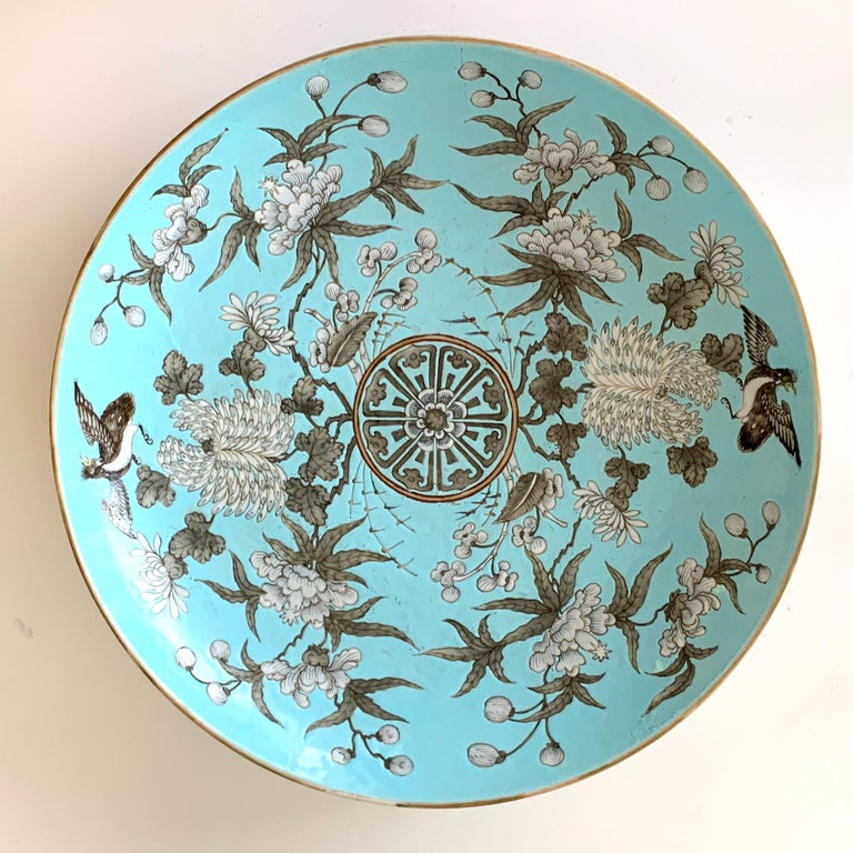 19th century Chinese export powder blue Ho Ho bird motif charger, with beautiful incised and enameled decoration.