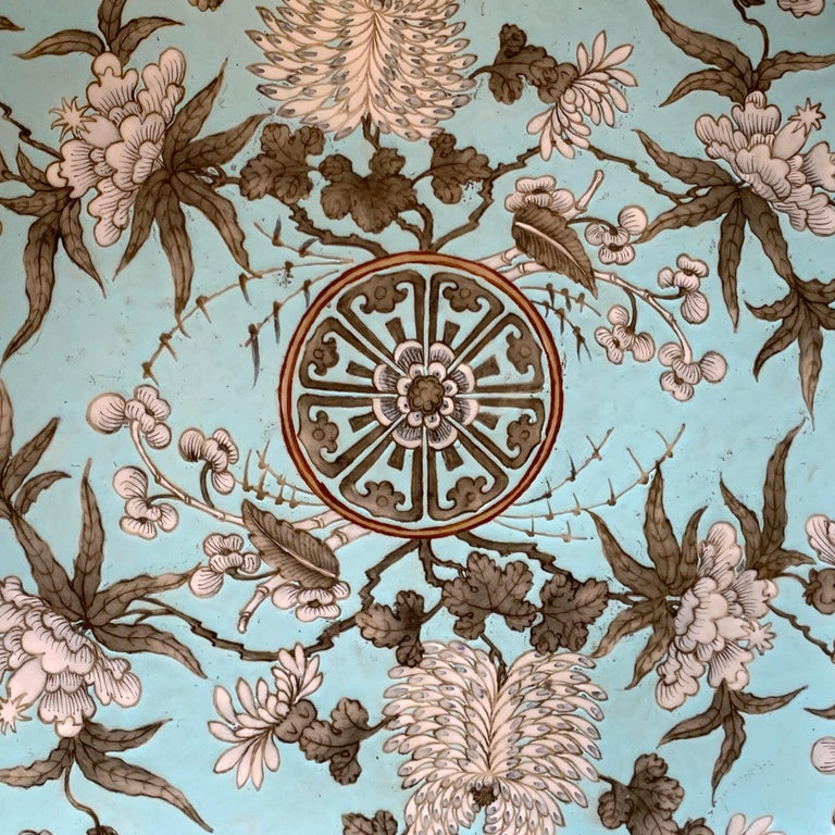 Porcelain 19th Century Chinese Export Powder Blue Ho Ho Bird Motif Charger For Sale