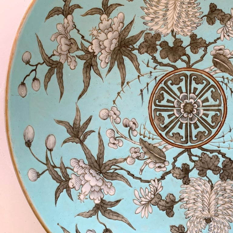 19th Century Chinese Export Powder Blue Ho Ho Bird Motif Charger For Sale 1