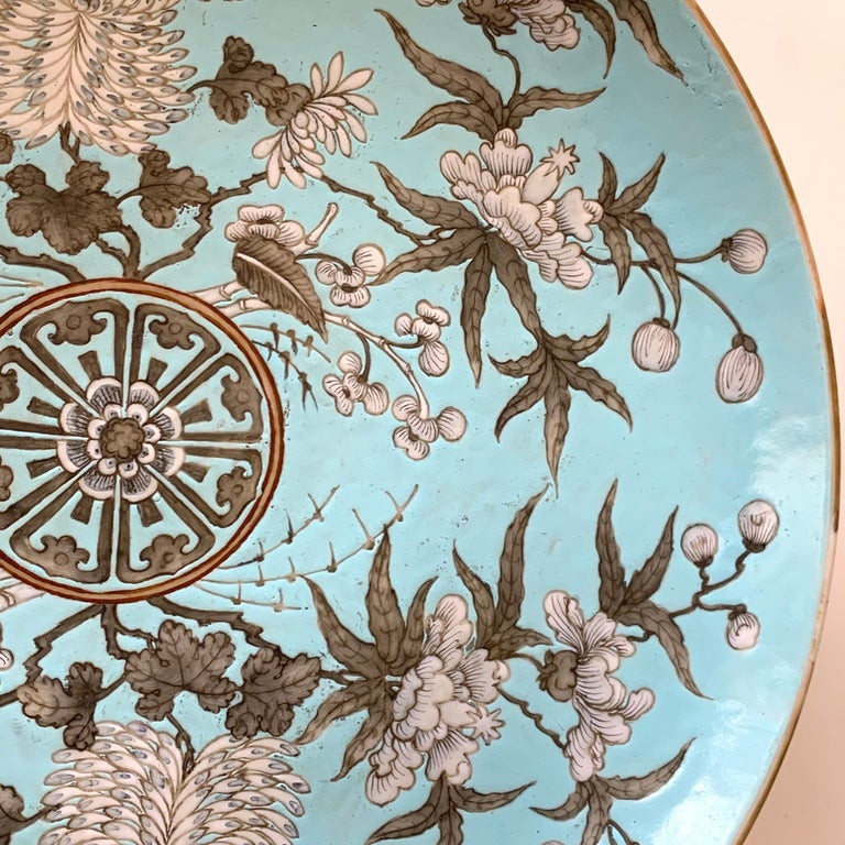 19th Century Chinese Export Powder Blue Ho Ho Bird Motif Charger For Sale 3