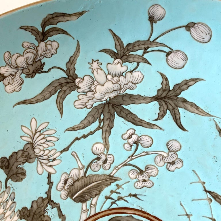 19th Century Chinese Export Powder Blue Ho Ho Bird Motif Charger For Sale 4