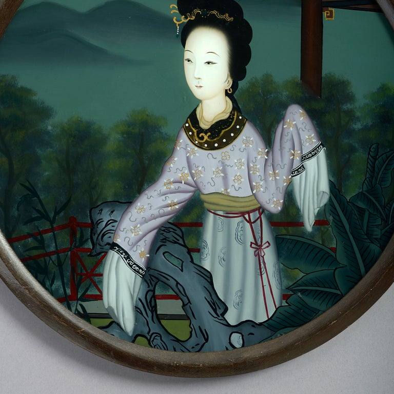 Ebonized 19th Century Chinese Export Reverse Glass Portrait of a Lady For Sale