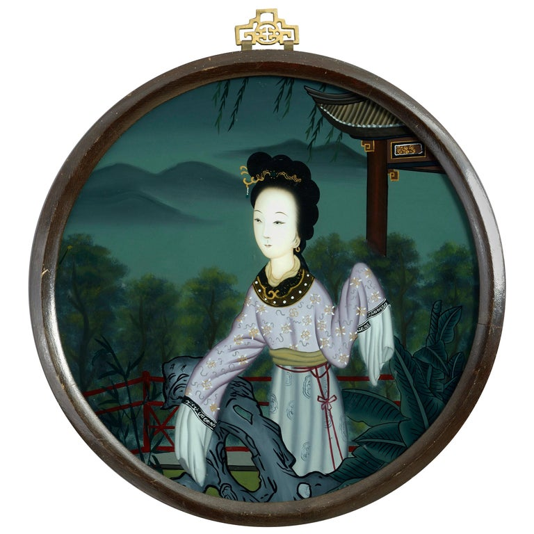 19th Century Chinese Export Reverse Glass Portrait of a Lady For Sale