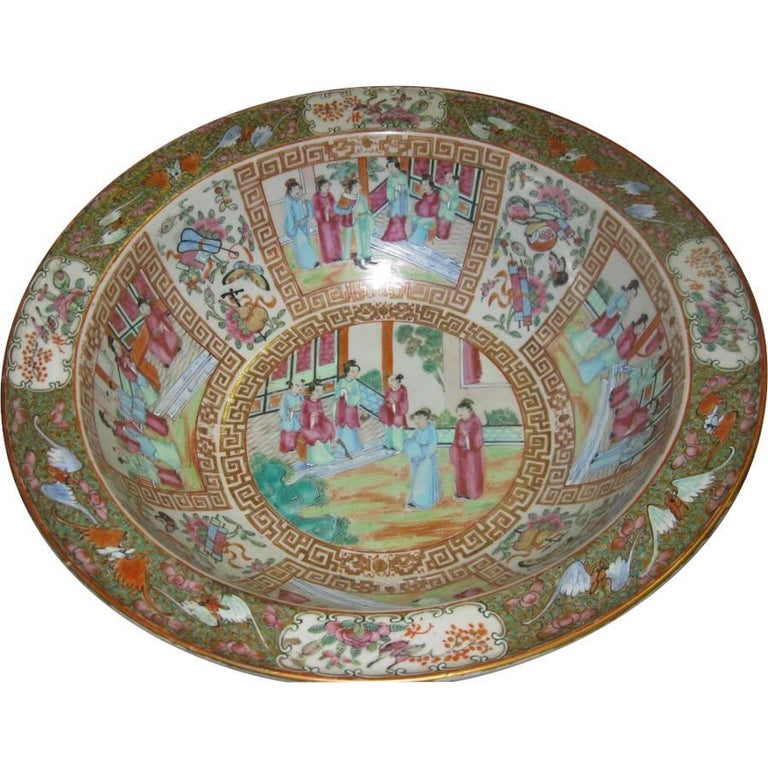 19th Century Chinese Export Rose Mandarin Wash Bowl