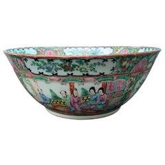 19th Century Chinese Export Rose Medallion Enameled Porcelain Punch Bowl