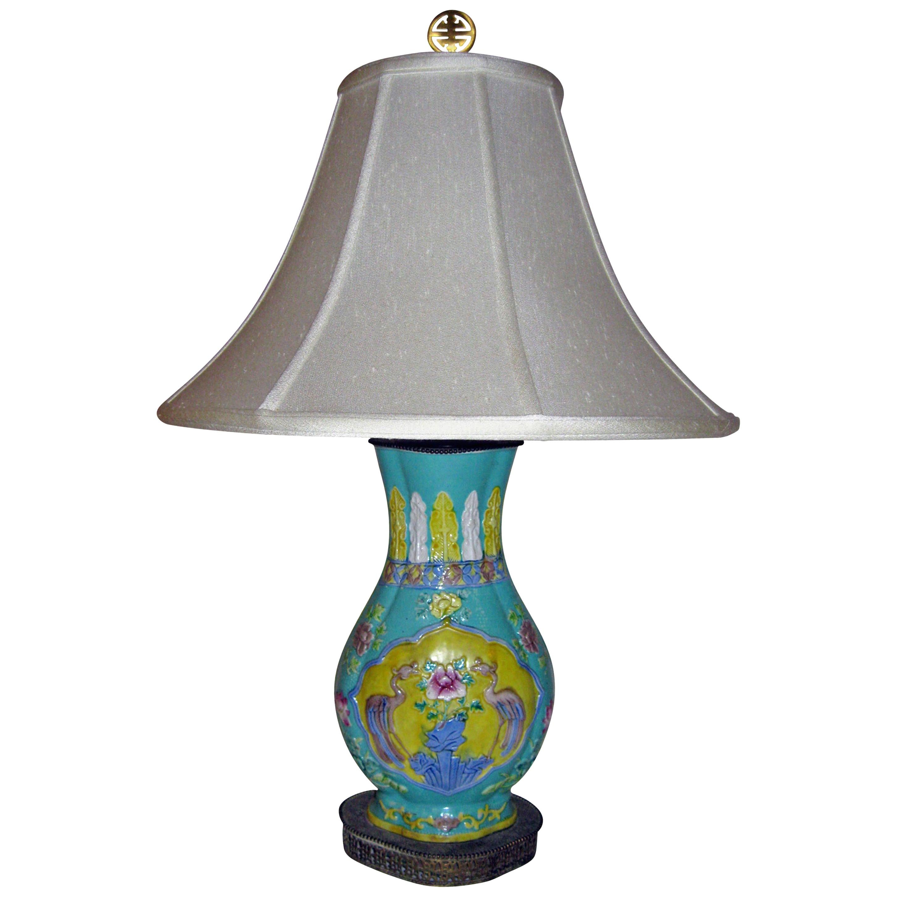 19th Century Chinese Export Royal Crane Vase Table Lamp