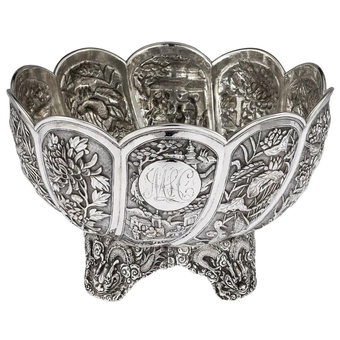 19th Century Chinese Export Silver Bowl, Hung Chong, Shanghai, circa 1890
