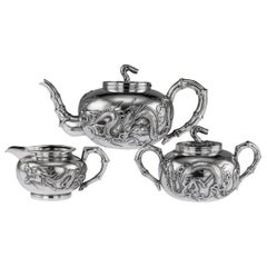 19th Century Chinese Export Silver Dragon Tea Set by Wang Hing, circa 1890