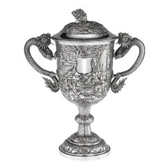 19th Century Chinese Export Silver Two-Handle Cup & Cover, Lee Ching, circa 1860