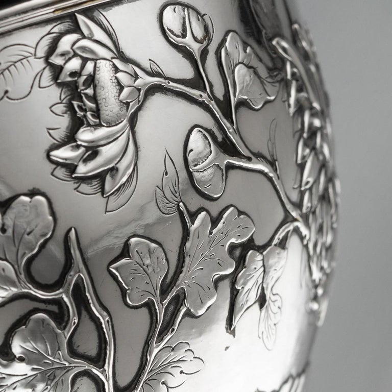 19th Century Chinese Export Solid Silver Bowl, Wing Cheong, Hong Kong c.1890 For Sale 8