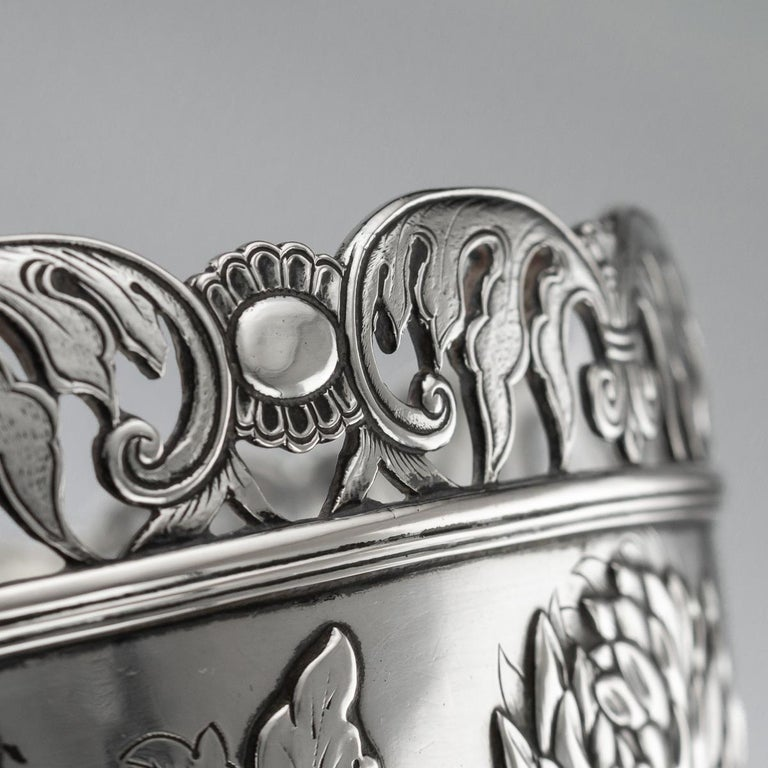 19th Century Chinese Export Solid Silver Bowl, Wing Cheong, Hong Kong c.1890 For Sale 9
