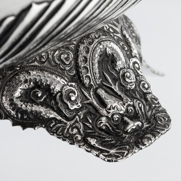 19th Century Chinese Export Solid Silver Bowl, Wing Cheong, Hong Kong c.1890 For Sale 10
