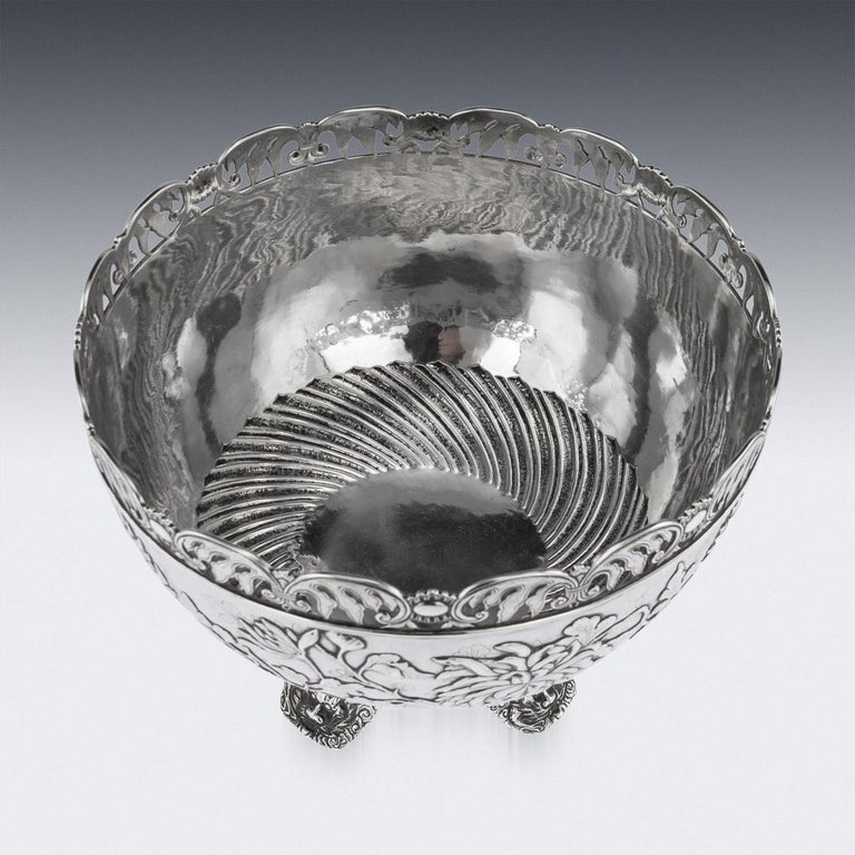19th Century Chinese Export Solid Silver Bowl, Wing Cheong, Hong Kong c.1890 For Sale 2