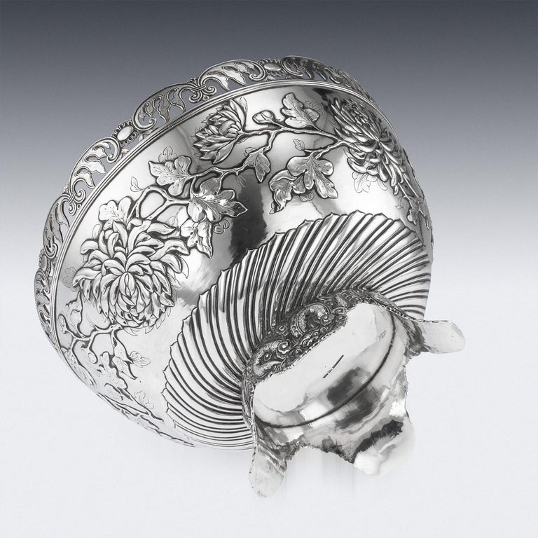 19th Century Chinese Export Solid Silver Bowl, Wing Cheong, Hong Kong c.1890 For Sale 3