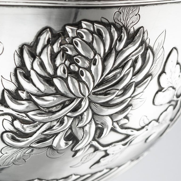 19th Century Chinese Export Solid Silver Bowl, Wing Cheong, Hong Kong c.1890 For Sale 4