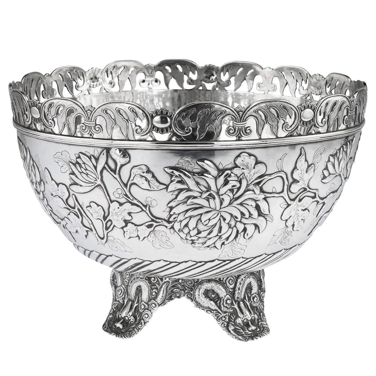 19th Century Chinese Export Solid Silver Bowl, Wing Cheong, Hong Kong c.1890