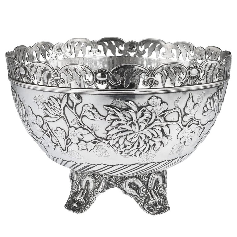 19th Century Chinese Export Solid Silver Bowl, Wing Cheong, Hong Kong c.1890 For Sale