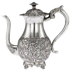 19th Century Chinese Export Solid Silver Coffee Pot, Hoaching, circa 1860