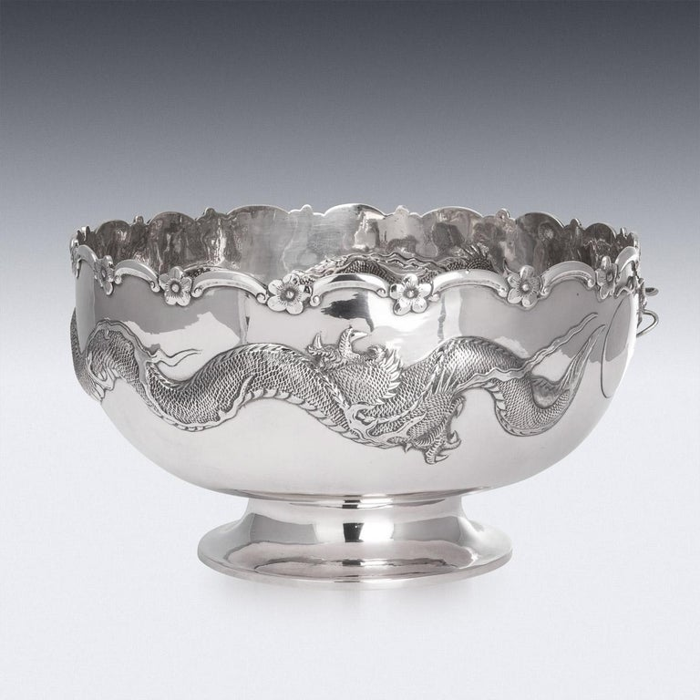 19th Century Chinese Export Solid Silver Dragon Bowl, Tuck Chang, c.1880 For Sale 2