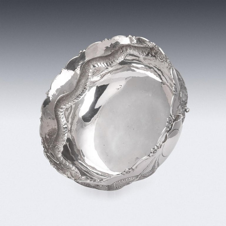 19th Century Chinese Export Solid Silver Dragon Bowl, Tuck Chang, c.1880 For Sale 3