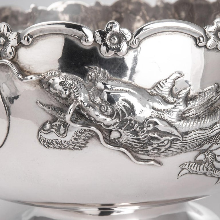 19th Century Chinese Export Solid Silver Dragon Bowl, Tuck Chang, c.1880 For Sale 5