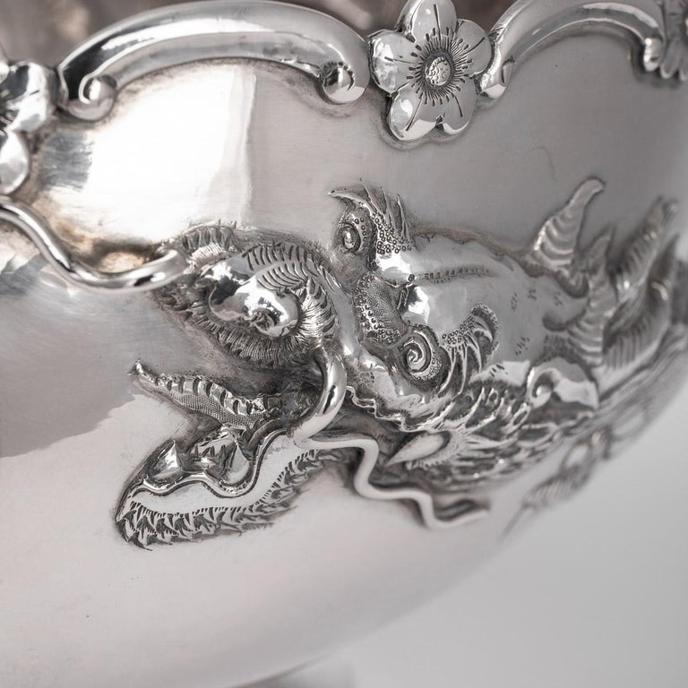 19th Century Chinese Export Solid Silver Dragon Bowl, Tuck Chang, c.1880 For Sale 6