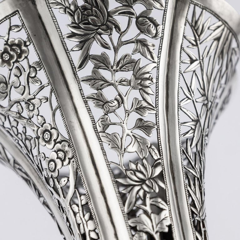19th Century Chinese Export Solid Silver Dragon Epergne, Hung Chong & Co c 1890 For Sale 8